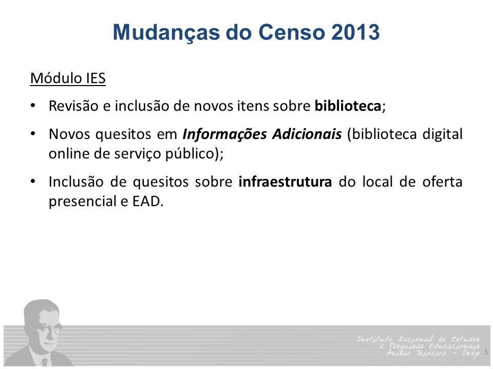 Mudanças do Censo 2013 Módulo IES