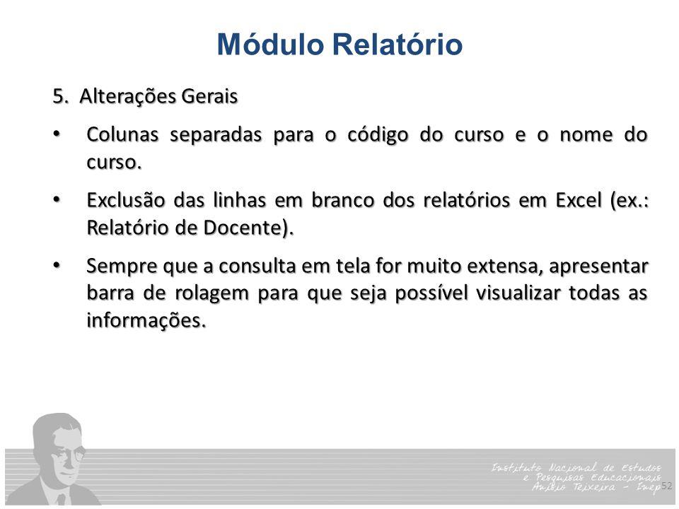 Módulo Relatório 5. Alterações Gerais