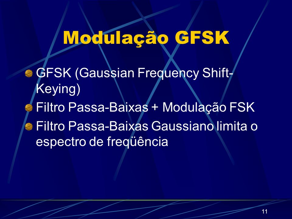Modulação GFSK GFSK (Gaussian Frequency Shift-Keying)