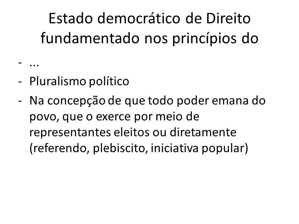 Estado democrático de Direito fundamentado nos princípios do