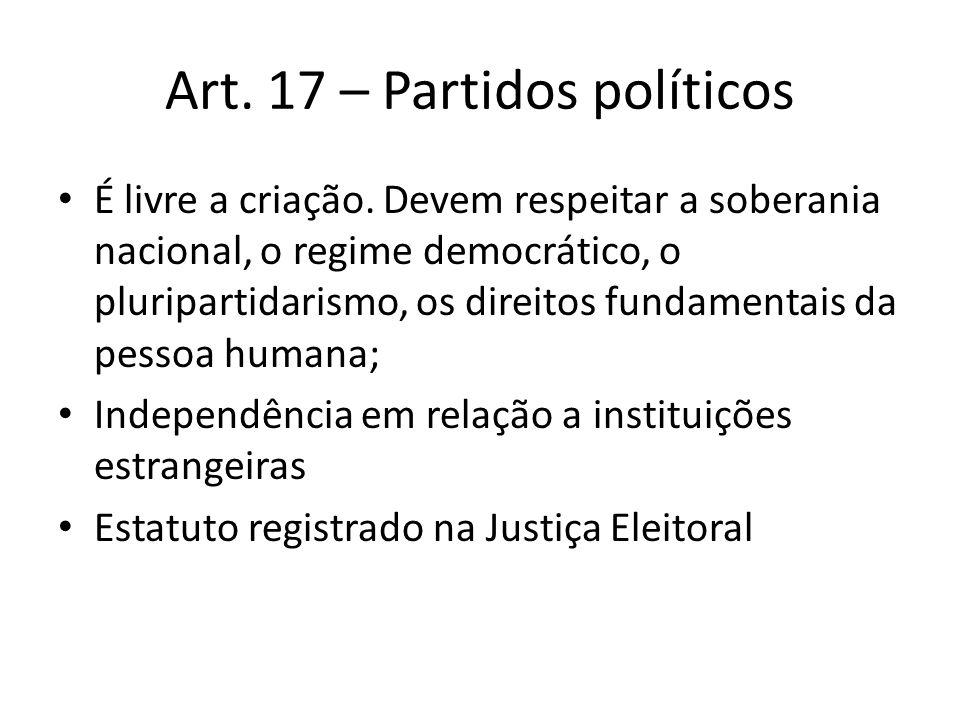 Art. 17 – Partidos políticos