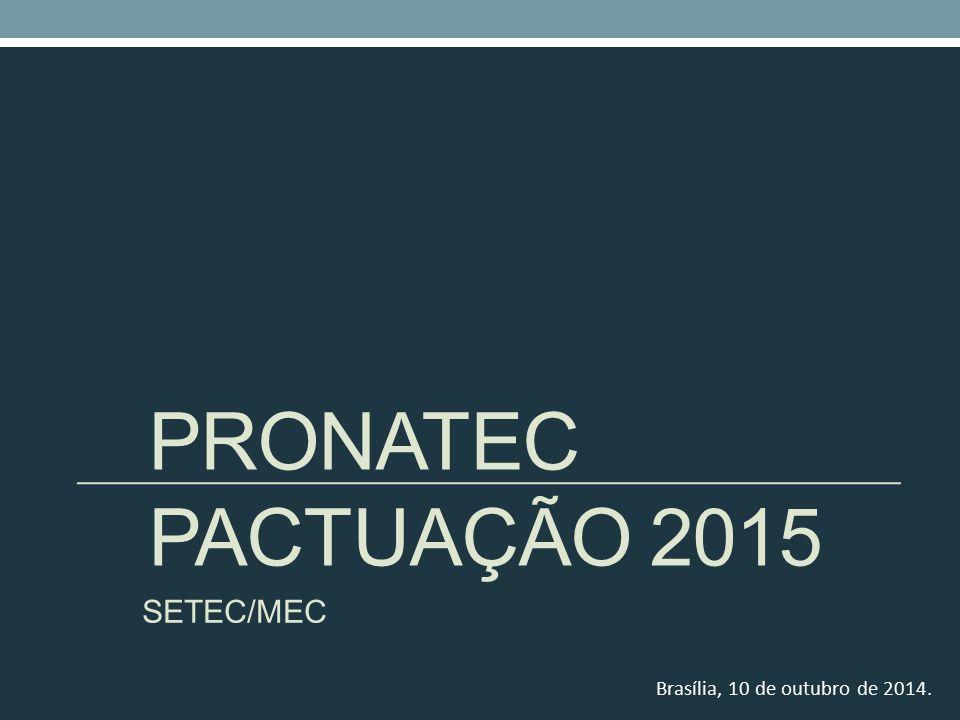 PRONATEC Pactuação 2015 SETEC/MEC Brasília, 10 de outubro de 2014.