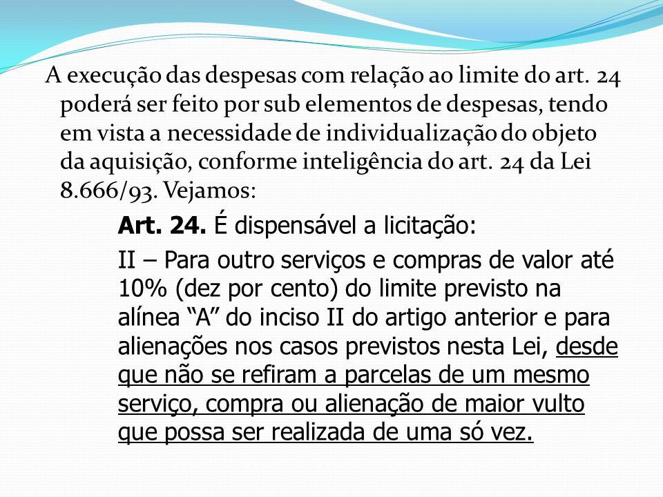 A execução das despesas com relação ao limite do art