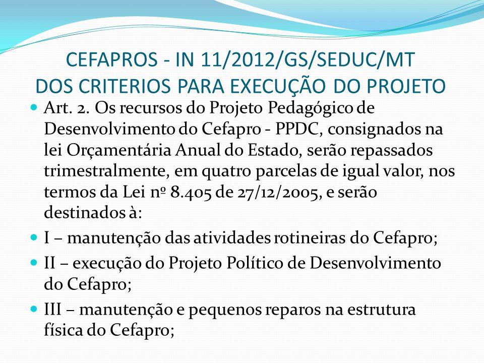CEFAPROS - IN 11/2012/GS/SEDUC/MT DOS CRITERIOS PARA EXECUÇÃO DO PROJETO