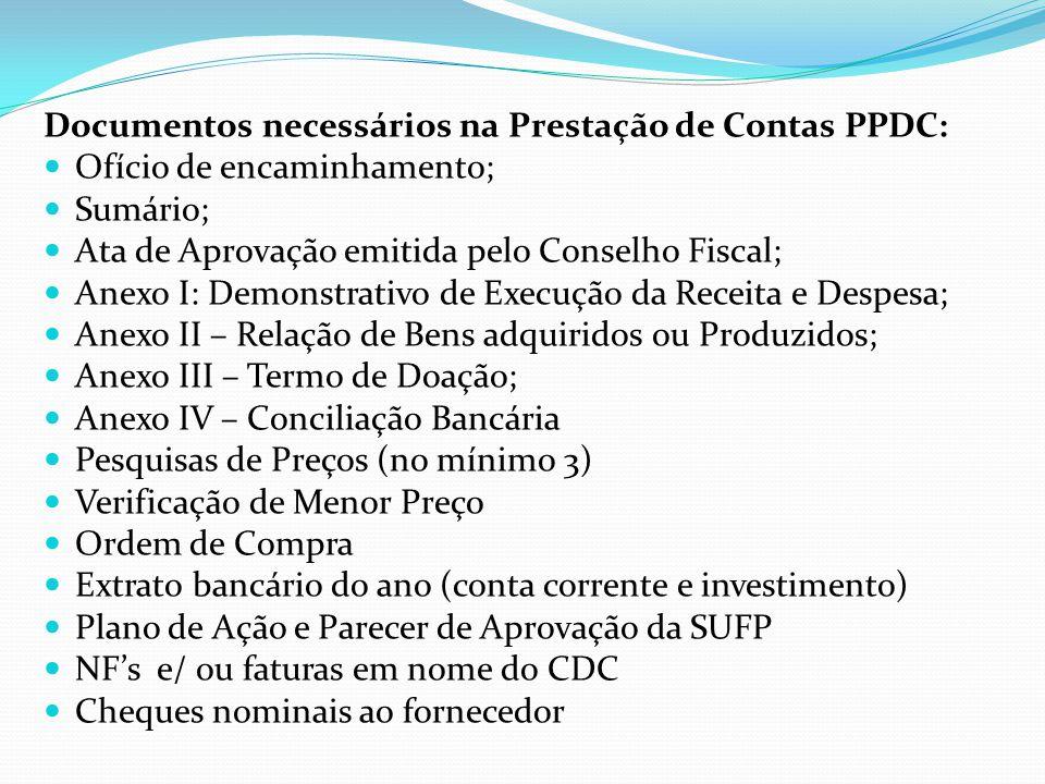 Documentos necessários na Prestação de Contas PPDC: