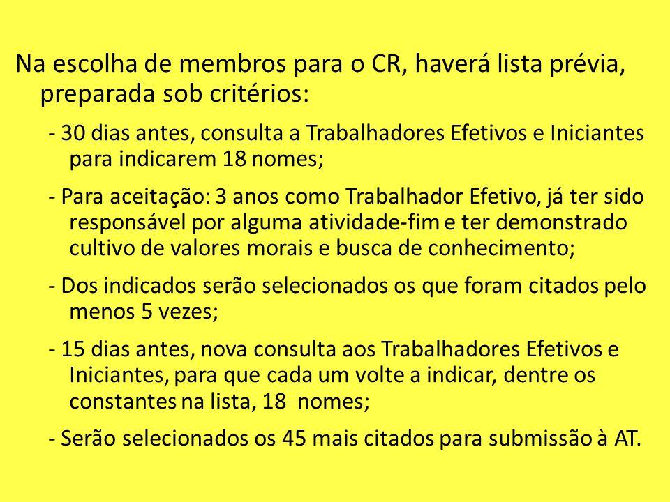 Na escolha de membros para o CR, haverá lista prévia, preparada sob critérios: