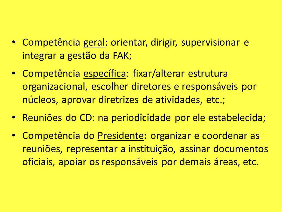 Competência geral: orientar, dirigir, supervisionar e integrar a gestão da FAK;