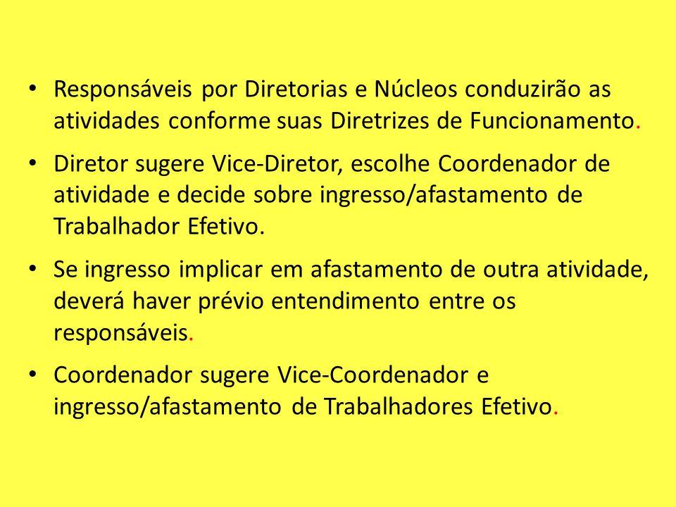 Responsáveis por Diretorias e Núcleos conduzirão as atividades conforme suas Diretrizes de Funcionamento.