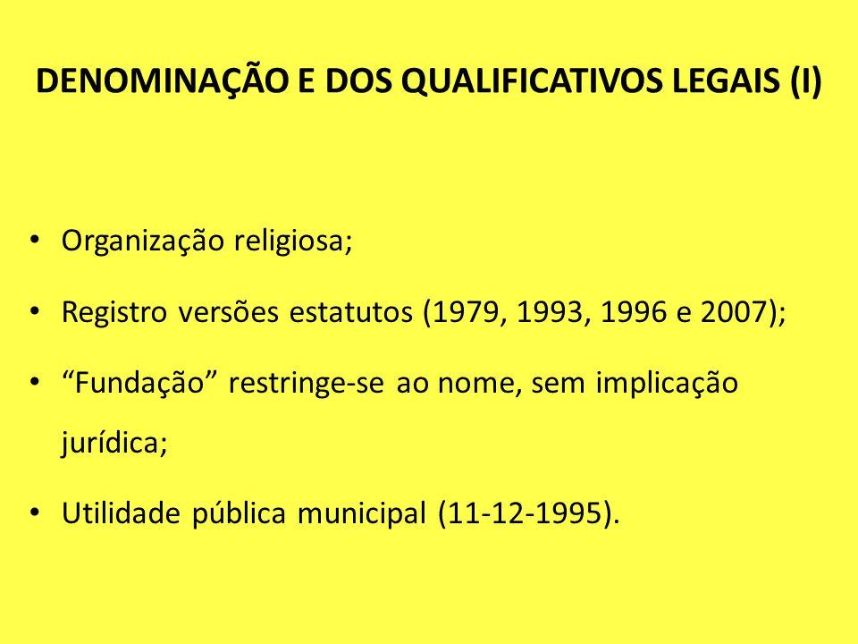 DENOMINAÇÃO E DOS QUALIFICATIVOS LEGAIS (I)