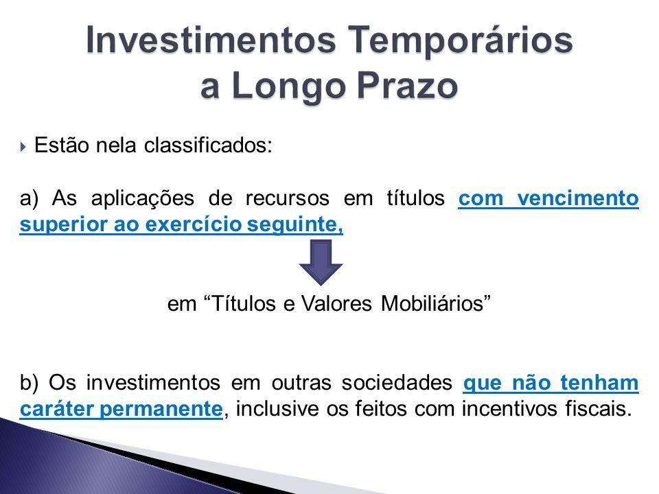 Investimentos Temporários a Longo Prazo