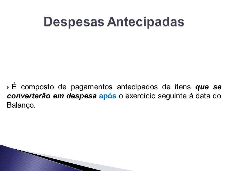Despesas Antecipadas É composto de pagamentos antecipados de itens que se converterão em despesa após o exercício seguinte à data do Balanço.