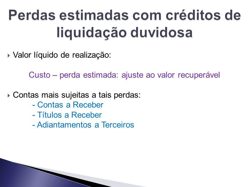 Perdas estimadas com créditos de liquidação duvidosa
