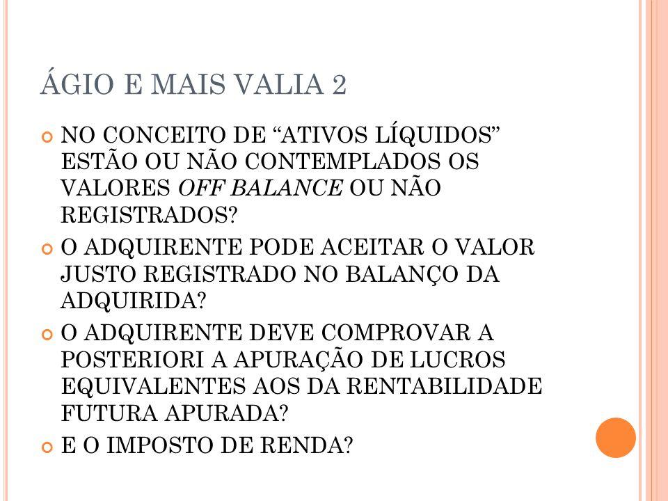 ÁGIO E MAIS VALIA 2 NO CONCEITO DE ATIVOS LÍQUIDOS ESTÃO OU NÃO CONTEMPLADOS OS VALORES OFF BALANCE OU NÃO REGISTRADOS