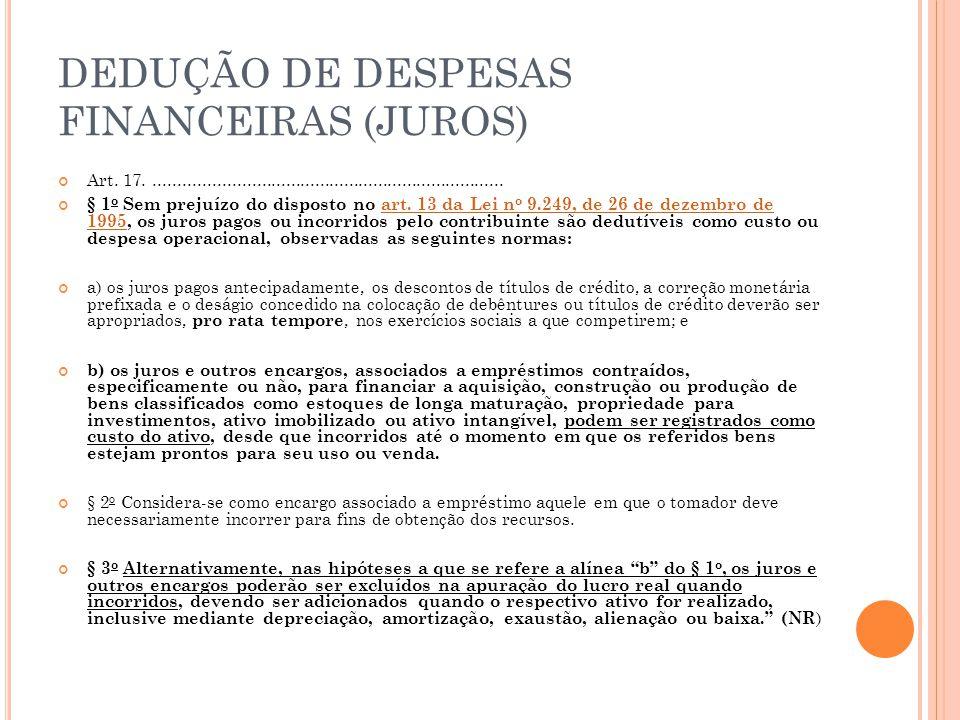 DEDUÇÃO DE DESPESAS FINANCEIRAS (JUROS)