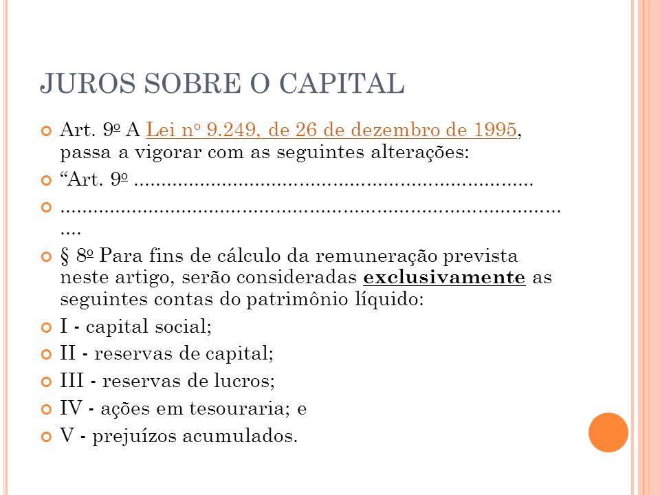 JUROS SOBRE O CAPITAL Art. 9o A Lei no 9.249, de 26 de dezembro de 1995, passa a vigorar com as seguintes alterações: