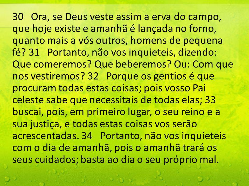 30 Ora, se Deus veste assim a erva do campo, que hoje existe e amanhã é lançada no forno, quanto mais a vós outros, homens de pequena fé.