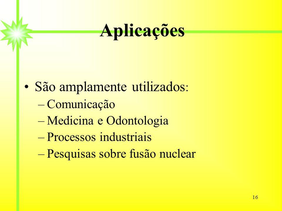 Aplicações São amplamente utilizados: Comunicação