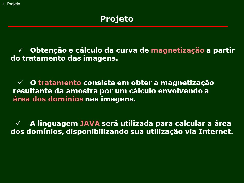 1. ProjetoProjeto.  Obtenção e cálculo da curva de magnetização a partir do tratamento das imagens.