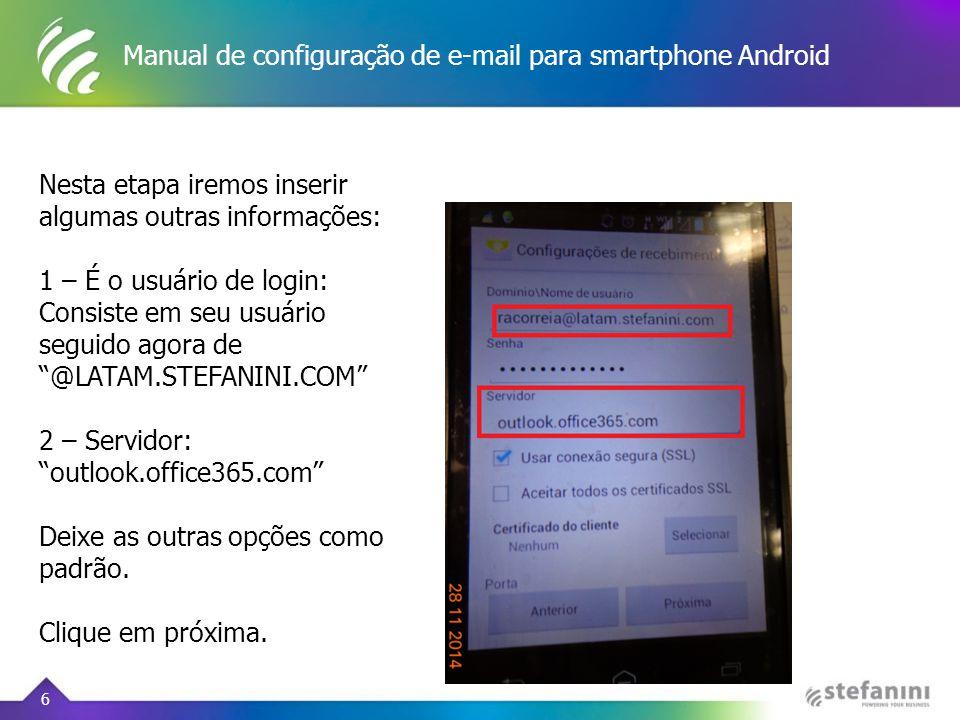 Manual de configuração de e-mail para smartphone Android