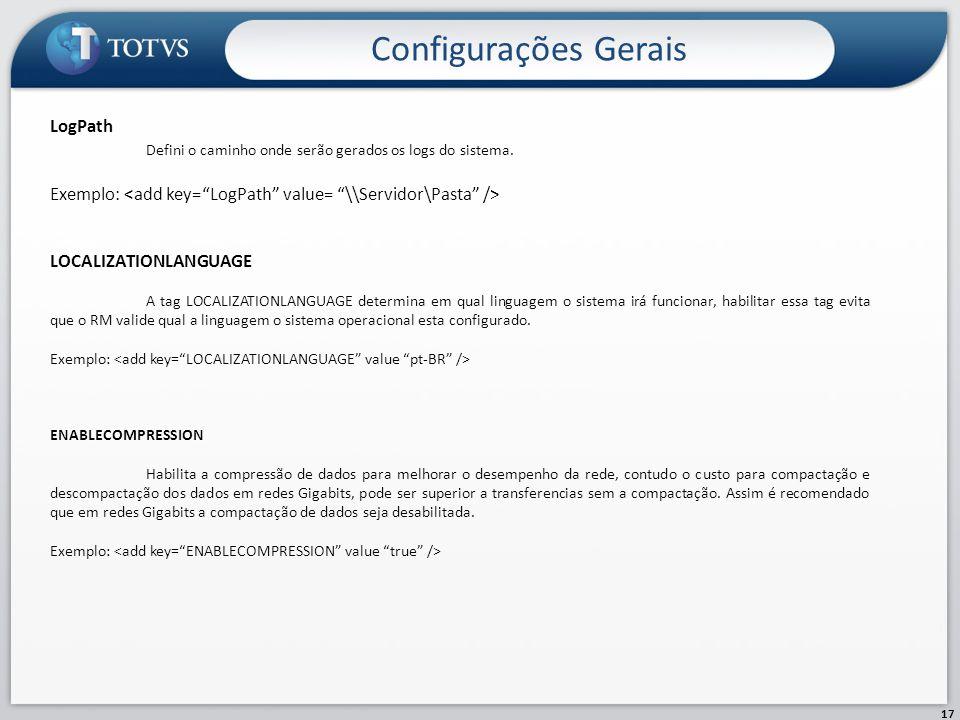 Configurações Gerais LogPath