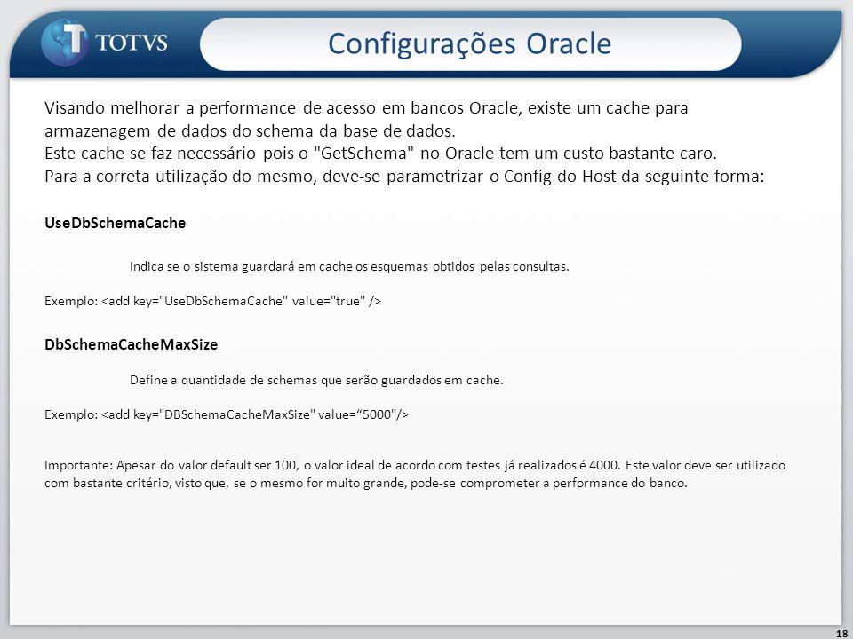 Configurações Oracle Visando melhorar a performance de acesso em bancos Oracle, existe um cache para armazenagem de dados do schema da base de dados.