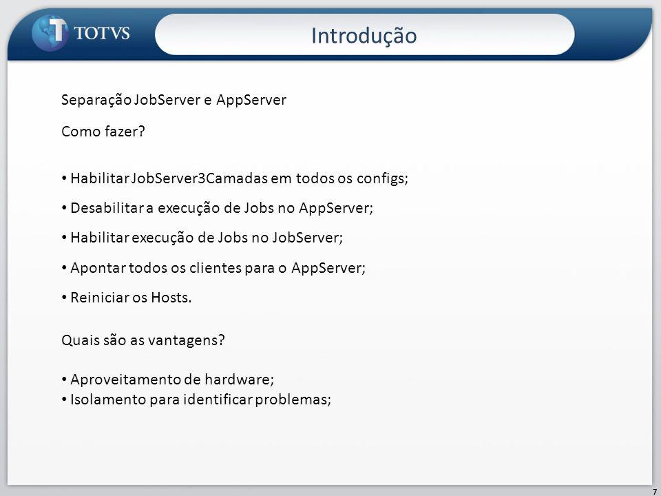 Introdução Separação JobServer e AppServer Como fazer