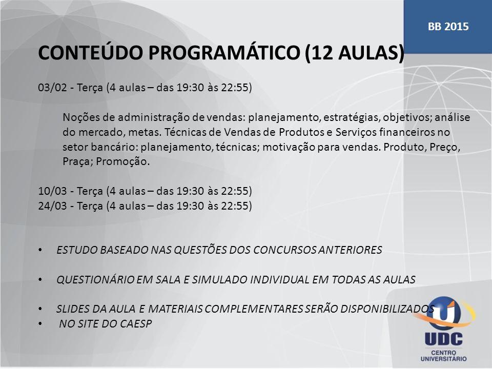 CONTEÚDO PROGRAMÁTICO (12 AULAS)