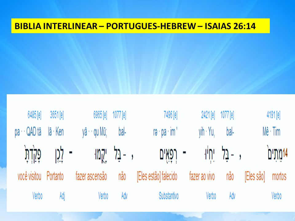 BIBLIA INTERLINEAR – PORTUGUES-HEBREW – ISAIAS 26:14