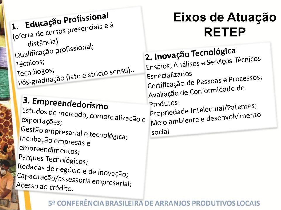 Eixos de Atuação RETEP Educação Profissional 2. Inovação Tecnológica