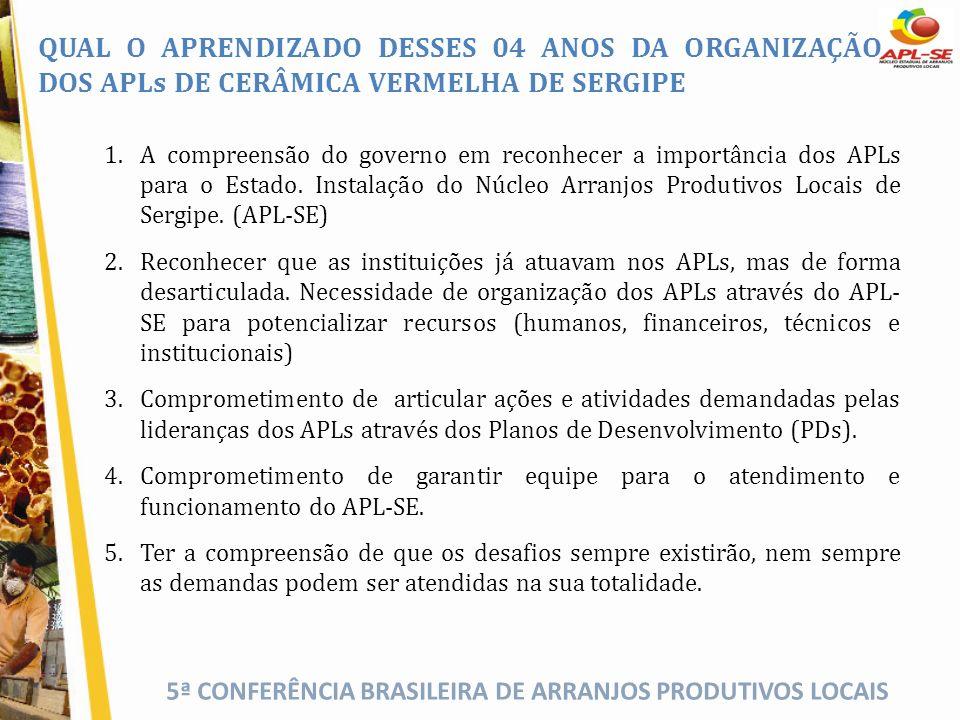 QUAL O APRENDIZADO DESSES 04 ANOS DA ORGANIZAÇÃO DOS APLs DE CERÂMICA VERMELHA DE SERGIPE