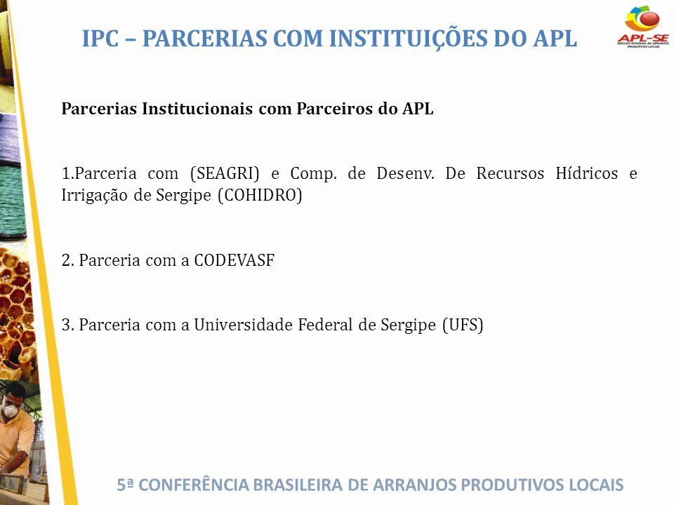 IPC – PARCERIAS COM INSTITUIÇÕES DO APL