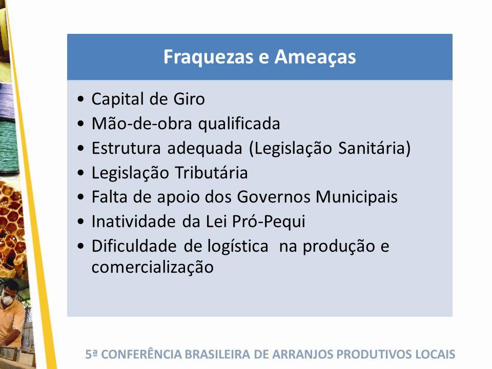 Fraquezas e Ameaças Capital de Giro Mão-de-obra qualificada
