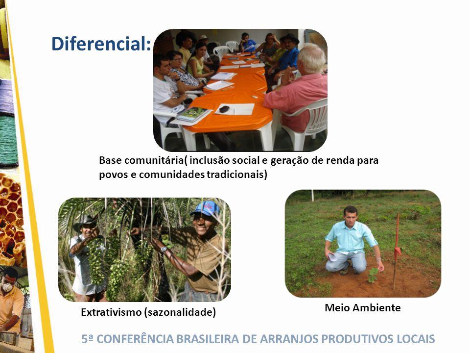 Diferencial: Base comunitária( inclusão social e geração de renda para povos e comunidades tradicionais)