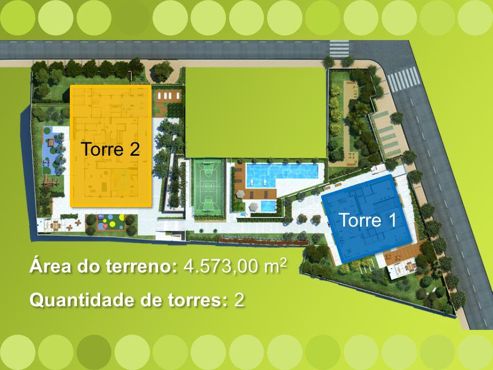 Torre 2 Torre 1 Área do terreno: 4.573,00 m2 Quantidade de torres: 2