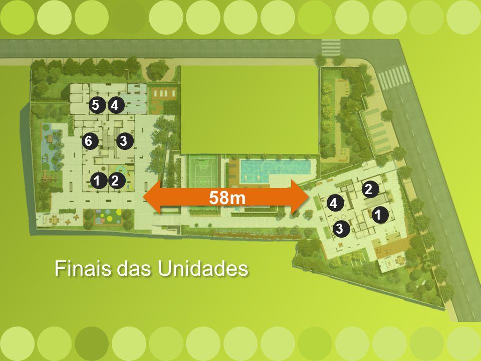 5 4. 6. 3. 1. 2. 58m. 2. 4. 1. 3. No Praça Jardim, tudo foi pensado privilegiando o conforto dos moradores...