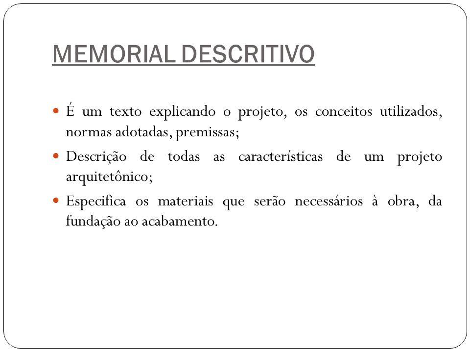 MEMORIAL DESCRITIVO É um texto explicando o projeto, os conceitos utilizados, normas adotadas, premissas;