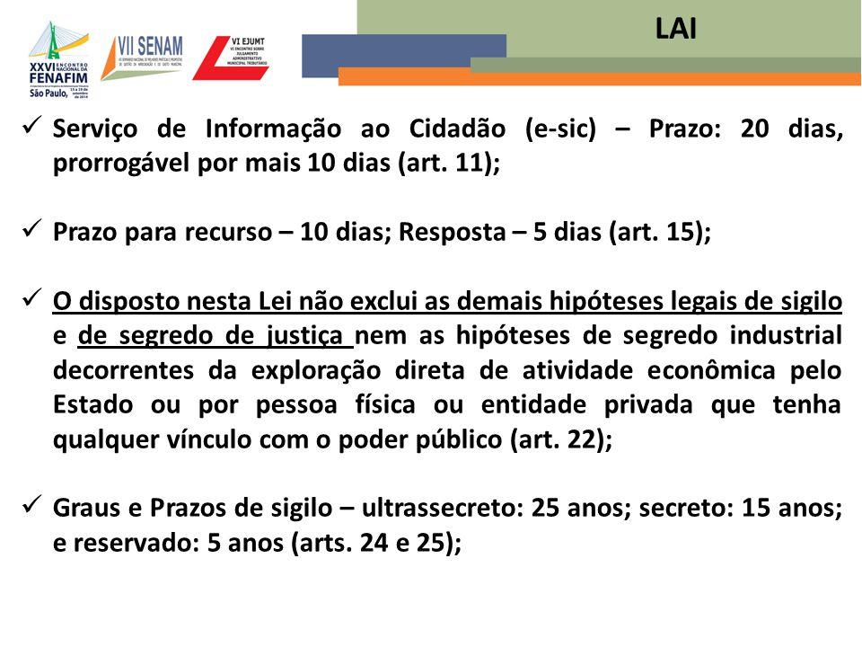 LAI Serviço de Informação ao Cidadão (e-sic) – Prazo: 20 dias, prorrogável por mais 10 dias (art. 11);