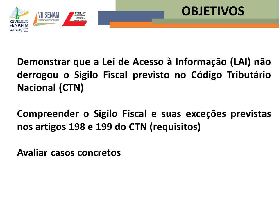 OBJETIVOS Demonstrar que a Lei de Acesso à Informação (LAI) não derrogou o Sigilo Fiscal previsto no Código Tributário Nacional (CTN)