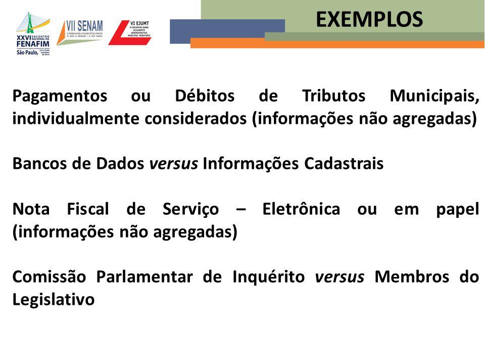 EXEMPLOS Pagamentos ou Débitos de Tributos Municipais, individualmente considerados (informações não agregadas)