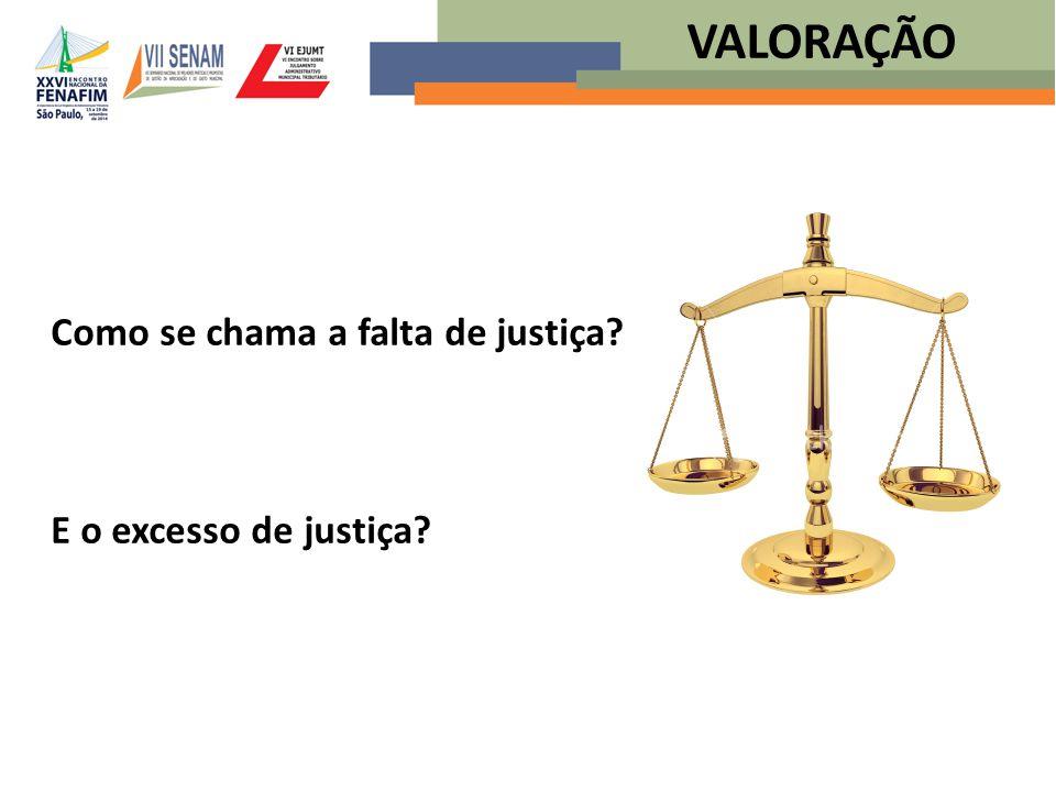 VALORAÇÃO Como se chama a falta de justiça E o excesso de justiça