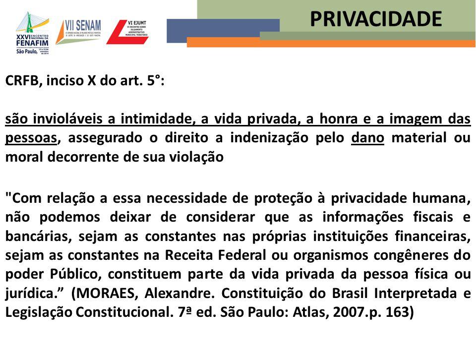 PRIVACIDADE CRFB, inciso X do art. 5°: