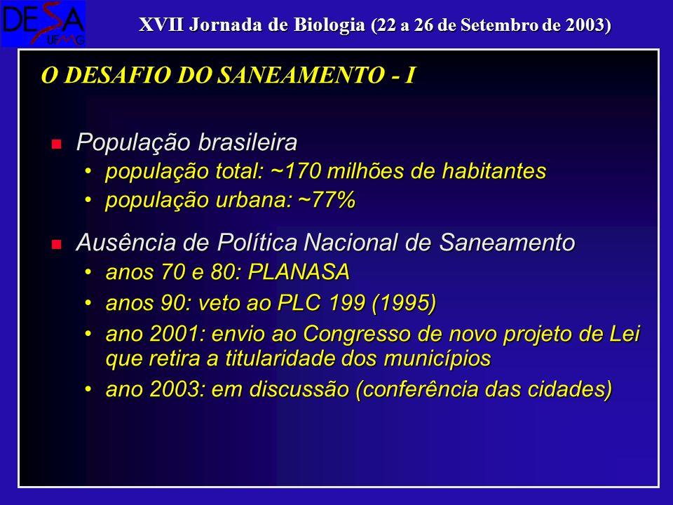O DESAFIO DO SANEAMENTO - I
