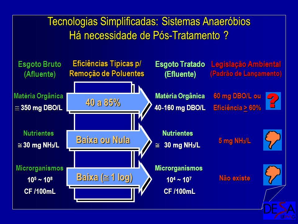 Eficiências Típicas p/ Remoção de Poluentes (Padrão de Lançamento)