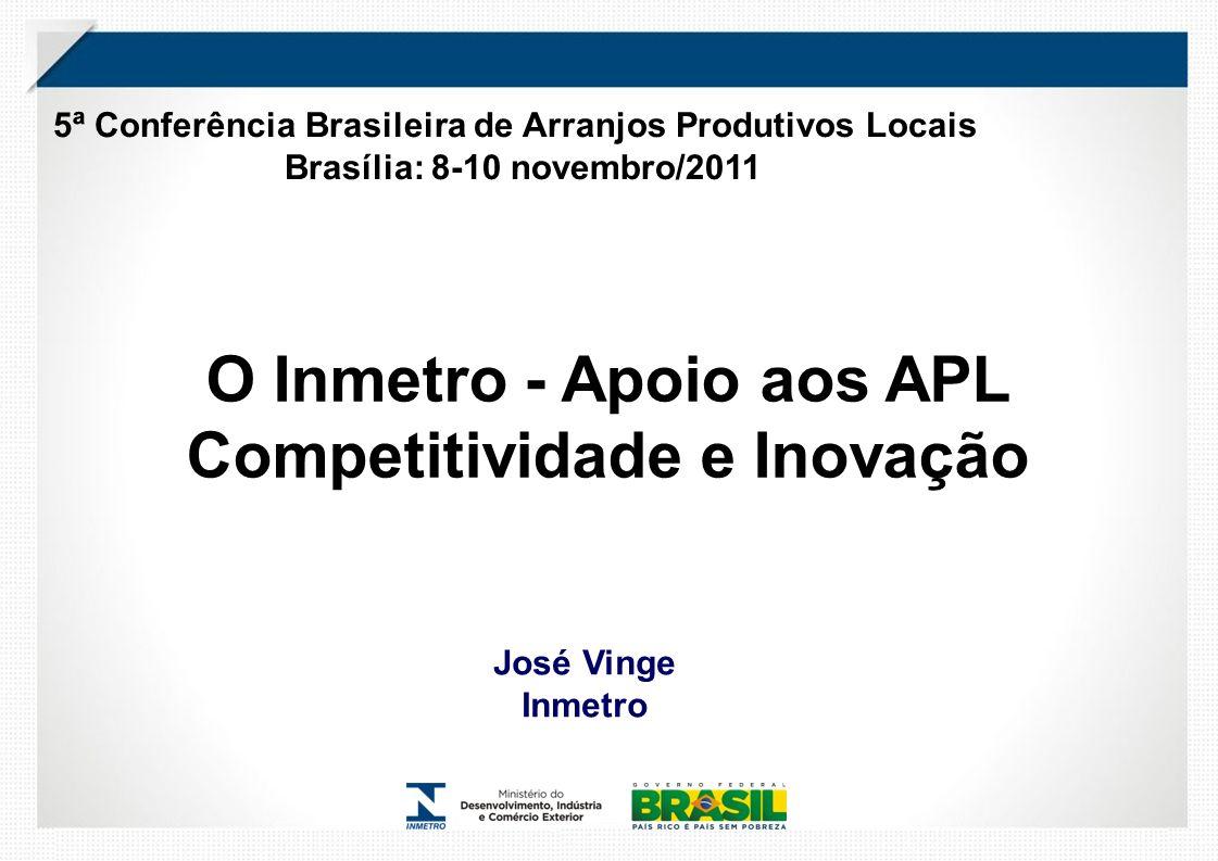 O Inmetro - Apoio aos APL Competitividade e Inovação