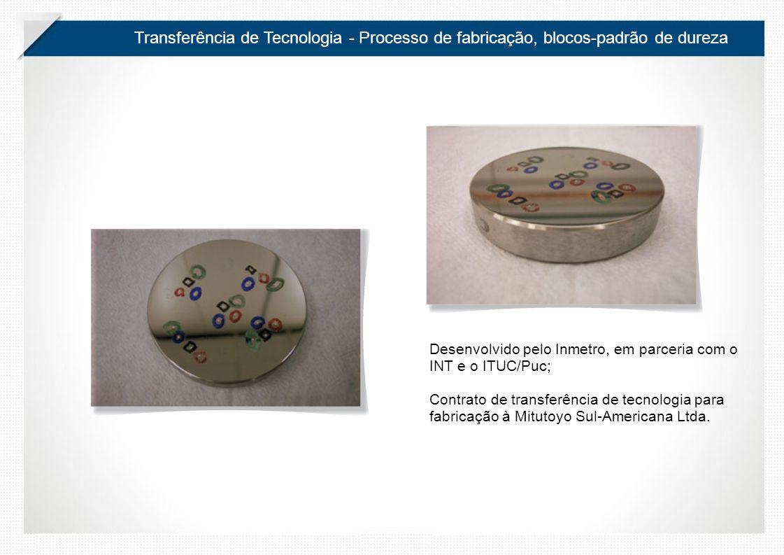 Transferência de Tecnologia - Processo de fabricação, blocos-padrão de dureza