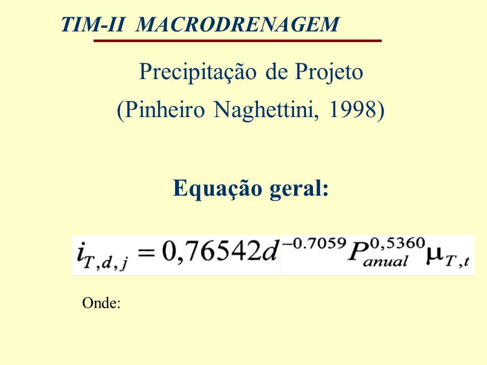 Precipitação de Projeto (Pinheiro Naghettini, 1998)