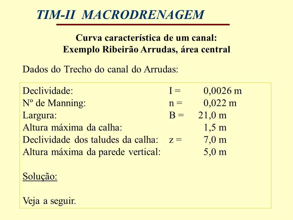 Dados do Trecho do canal do Arrudas: