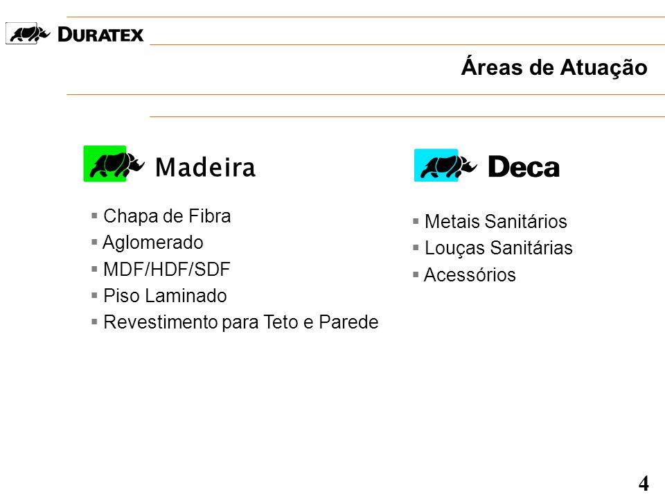 Madeira Áreas de Atuação 4 Chapa de Fibra Metais Sanitários Aglomerado