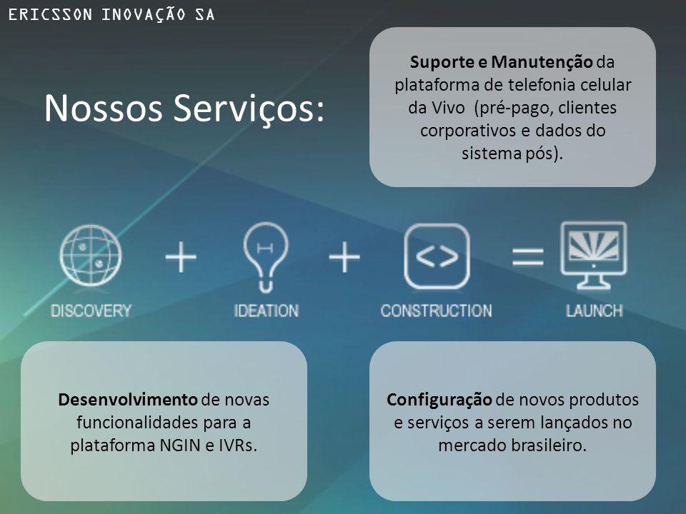 ERICSSON INOVAÇÃO SA Suporte e Manutenção da plataforma de telefonia celular da Vivo (pré-pago, clientes corporativos e dados do.