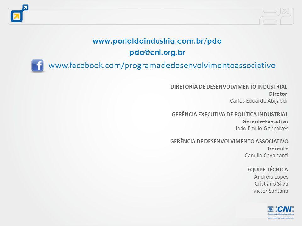 www.portaldaindustria.com.br/pda pda@cni.org.br. www.facebook.com/programadedesenvolvimentoassociativo.